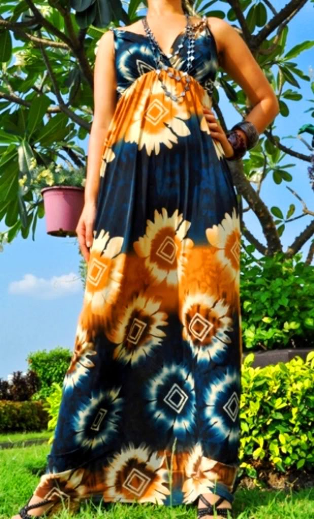 Blue and ButterScotch Rope Print Maxi Dress