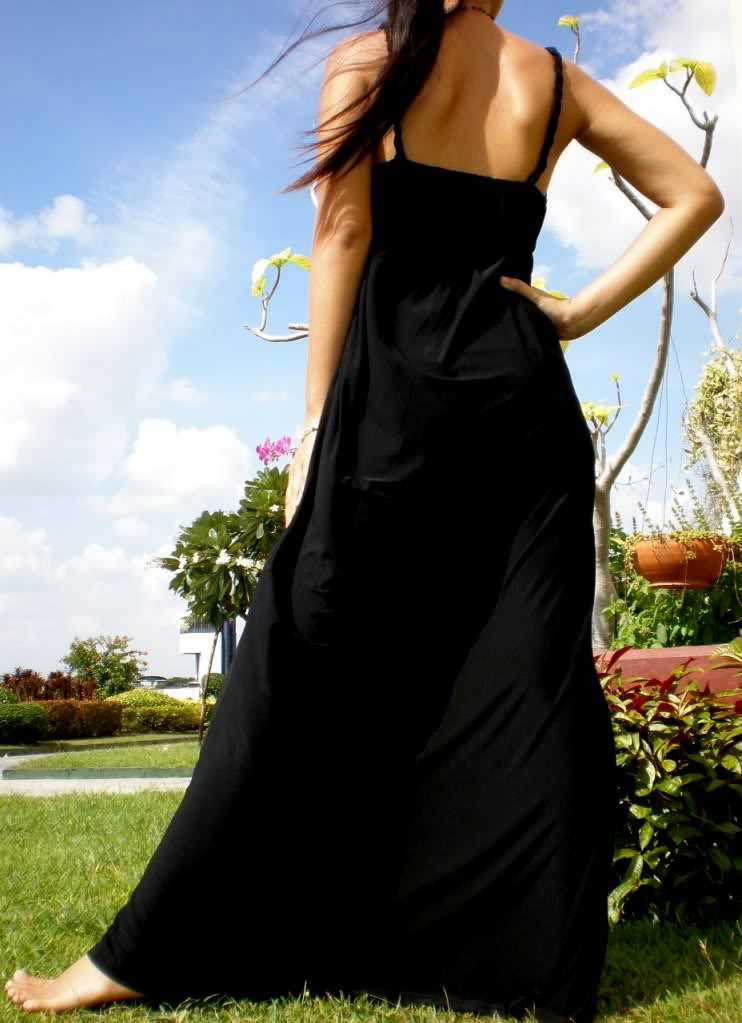 Black All-Over Rope Maxi Dress