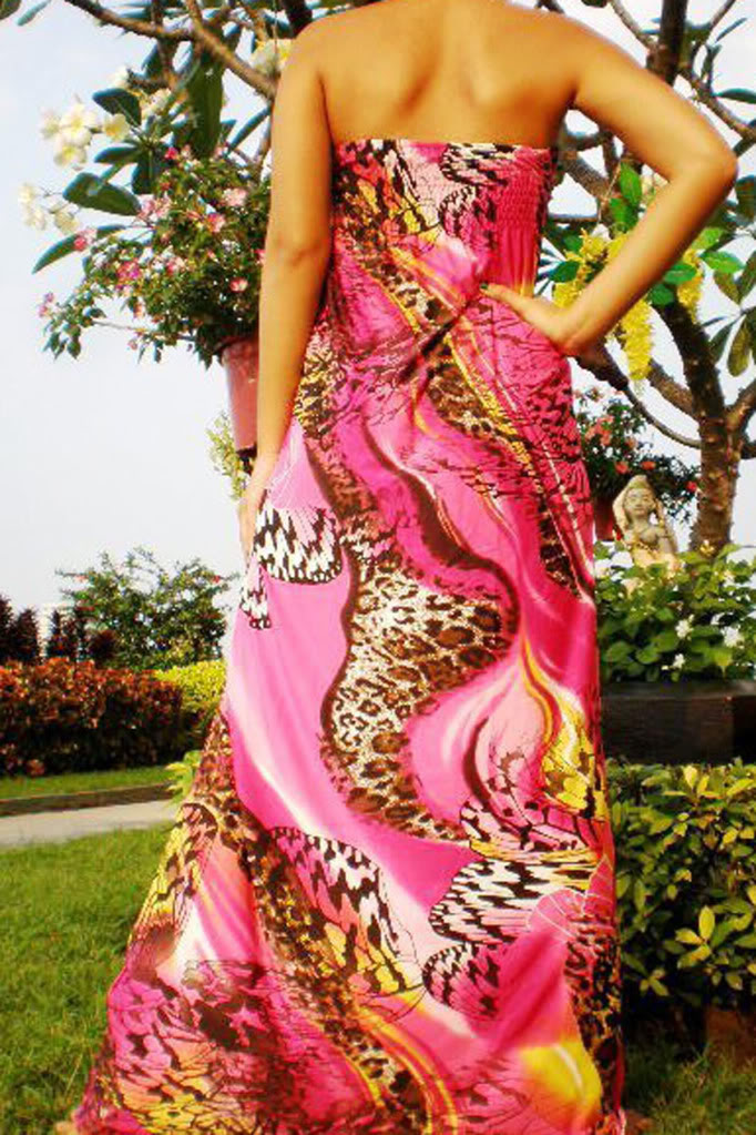 Fuschia and Pink Print Rope Maxi Dress