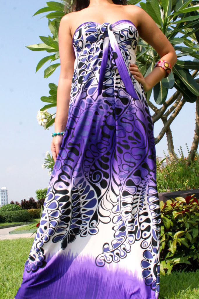 Purple Print Strapless Maxi Dress