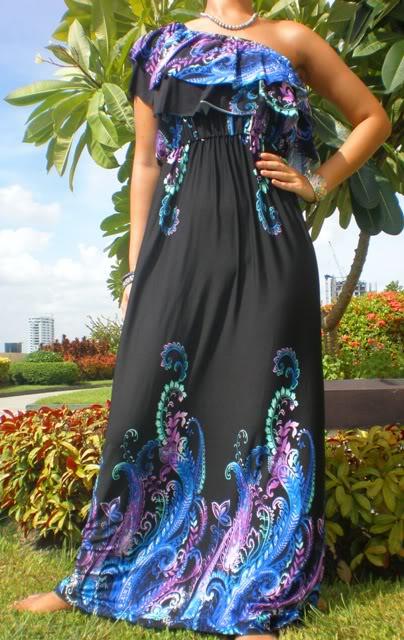 Black One-Shoulder Blue Print Maxi Dress