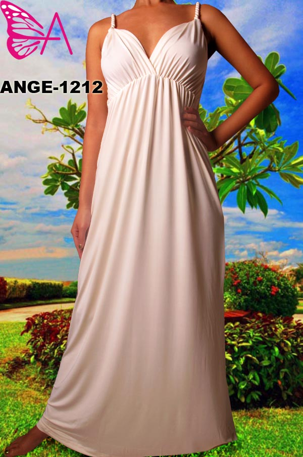 Solid Cream Maxi Dress Plus Size and Missy Maxi Long Dresses with Sleeves