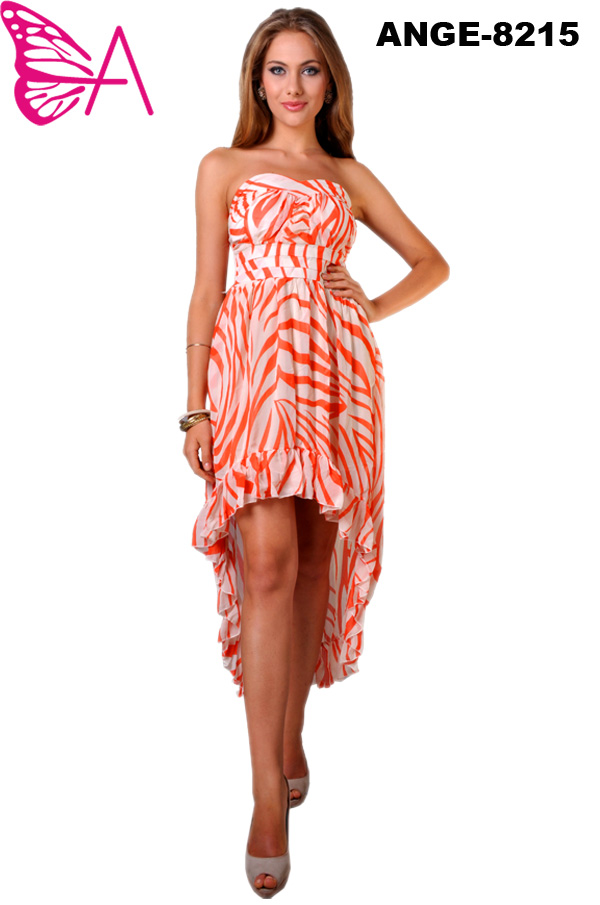 Orange and White High-Low Maxi Dress