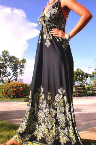 Black Print Rope Maxi Dress