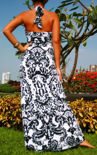 Black & White Halter Print Maxi Dress