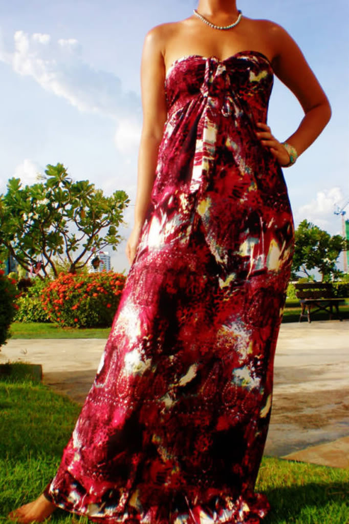 Lady-In-Red Halter Print Maxi Dress