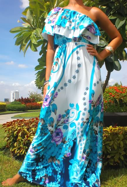 One-Shoulder Turquoise & White Maxi Dress
