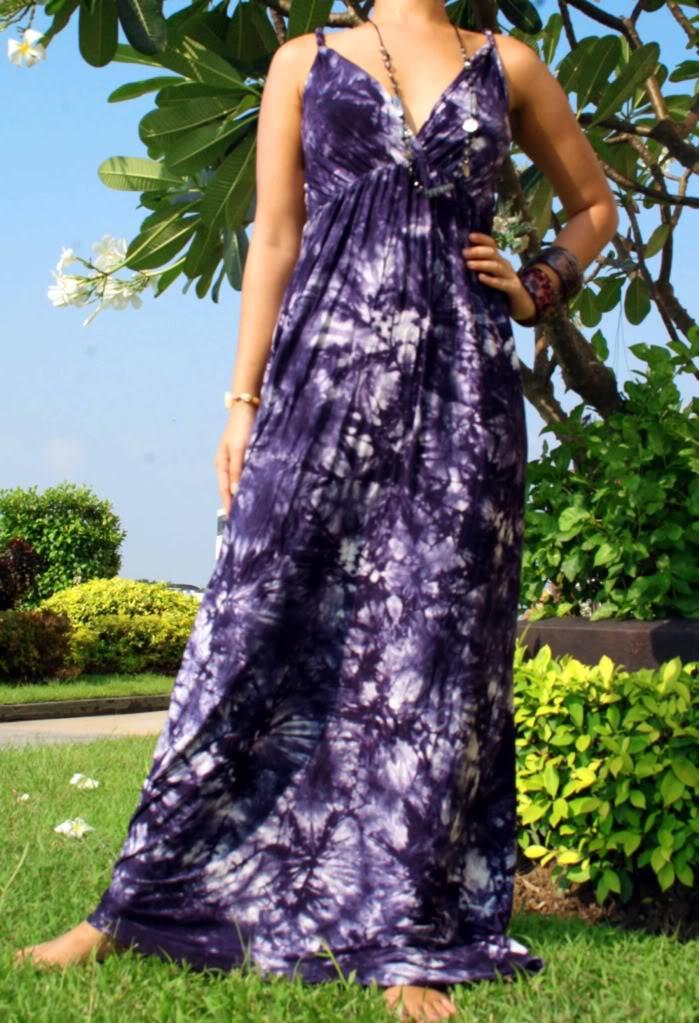Purple Print Rope Maxi Dress