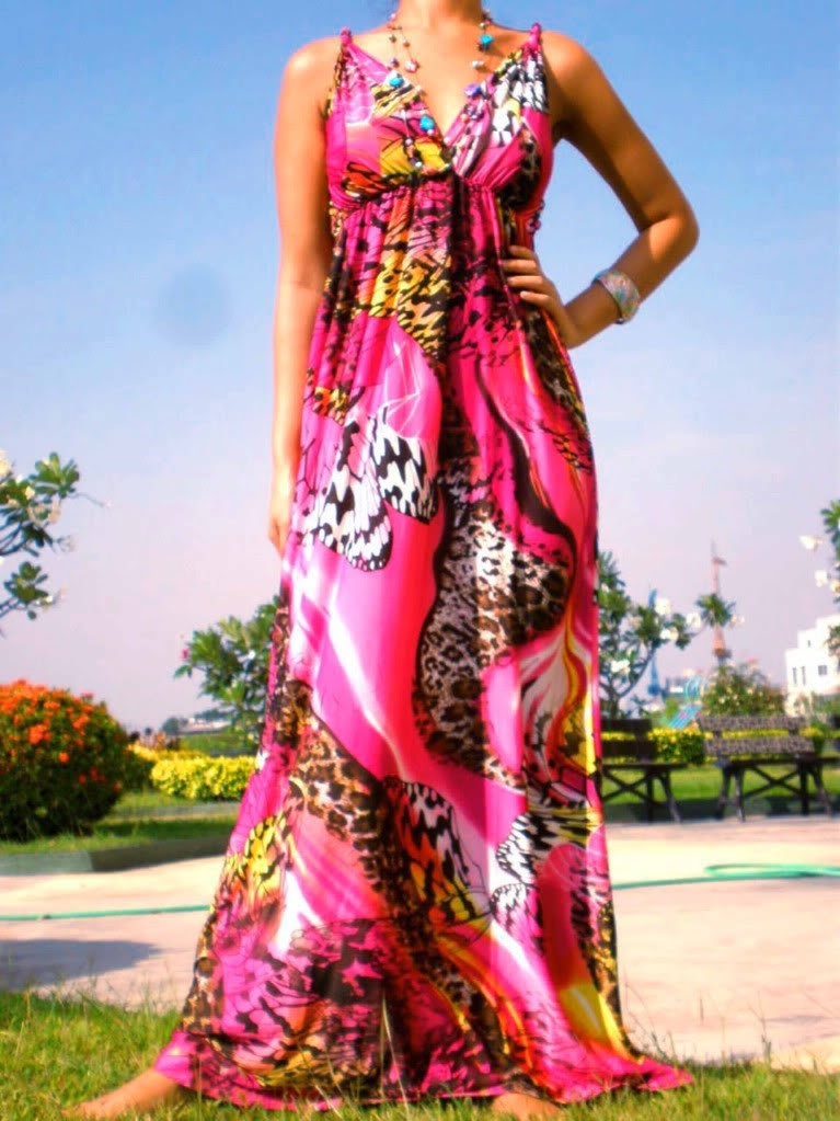 1006--Fushia Print Rope Maxi Dress-Fushia Print Rope Maxi Dress Luxury Designer