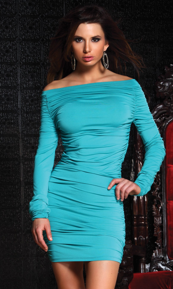 882691-Engage Aqua Off Shoulder Long Sleeve Mini-Engage Aqua Off Shoulder Long Sleeve Mini Off the shoulder long sleeve mini dress with ruched detail