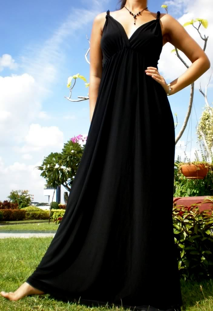 1084--Black All-Over Rope Maxi Dress-Black All-Over Rope Maxi Dress Luxury