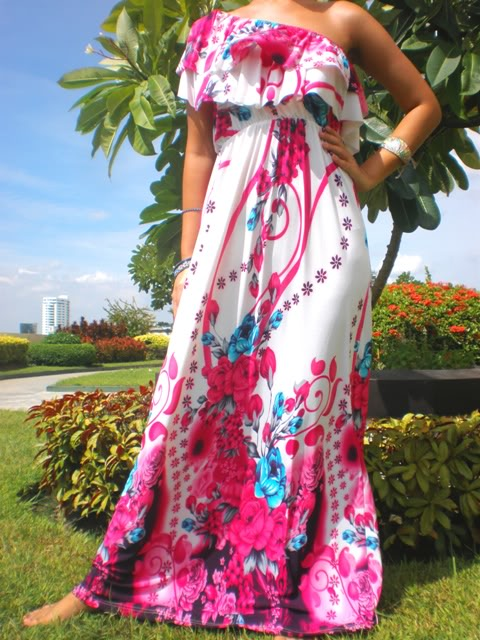 5001--One Shoulder Pretty-in-Pink Multi-Color Maxi Dress-One Shoulder Pretty-in-Pink Multi-Color Maxi Dress bestselling maxi dress beautiful fashion luxury unique topselling designer printed solid 