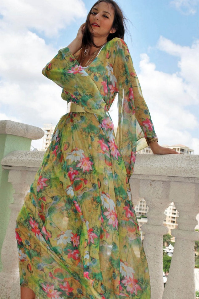 MX 02 GR--Green Flowers Summer Maxi Dress-Maxi Dresses Lace Dresses Satin Dresses Satin Pants Silk Pants Emerging Designers Women's Maxi Dresses