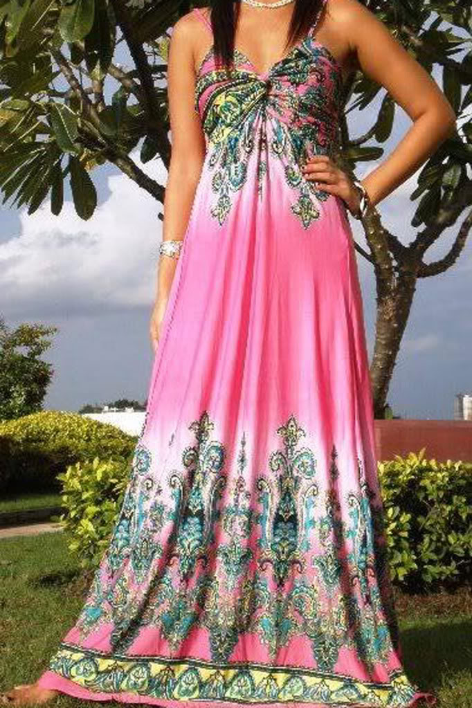 2002--Pink Multi-Color Rope Maxi Dress-Pink Multi-Color Rope Maxi Dress bestselling maxi dress beautiful fashion luxury unique topselling designer printed solid 