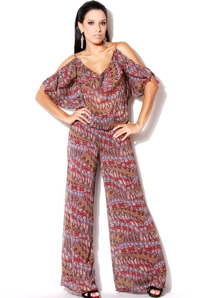 VVV-316-PURP/PRINT--Ruffled Chiffon Printed Jumpsuit-Ruffled Chiffon Printed Jumpsuit Women Missy Junior Ladies Luxury Designer Plus Size