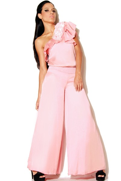 RT-17-PNK--Ruffled One-Shoulder Pink Wide Leg Jumpsuit-Ruffled One-Shoulder Pink Wide Leg Jumpsuit Women Missy Junior Ladies Luxury Designer Plus Size