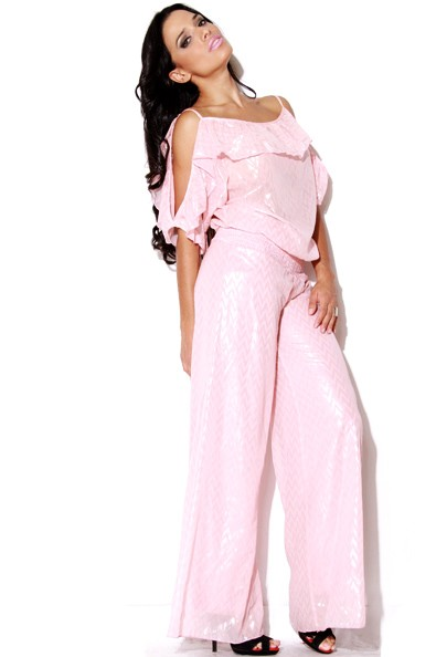 VVV-316-PNK--Ruffled Pink Chiffon Jumpsuit-Ruffled Pink Chiffon Jumpsuit Women Missy Junior Ladies Luxury Designer Plus Size