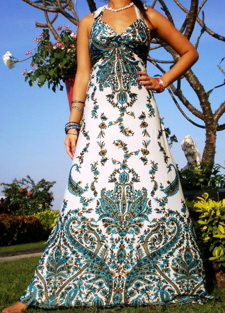 7001--Teal & White Halter Print Maxi Dress-Teal & White Halter Print Maxi Dress